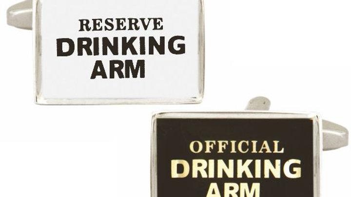 """""""Drinking Arm"""" Black & White Rhodium Plated Cufflinks"""