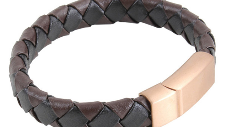 Black & Brown Braided Leather Bracelet with Rose Gold Clasp