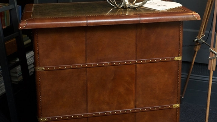 Panama Leather Bar Counter With Brass Top- Cognac