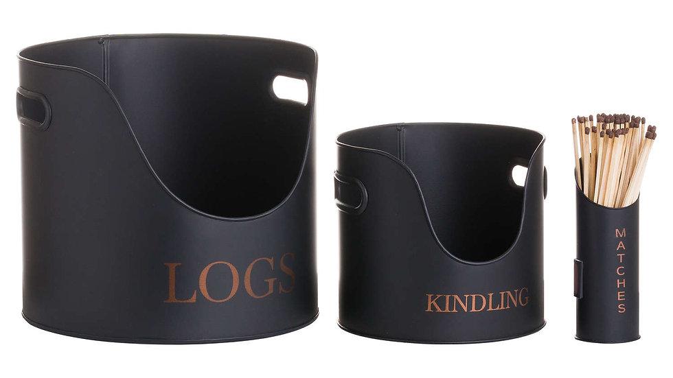 Logs & Kindling Buckets + Matchstick Holder Black And Copper