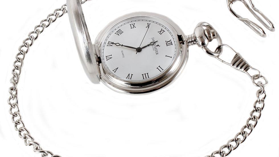Silver Brushed Quartz Full Hunter Pocket Watch. 45mm diameter
