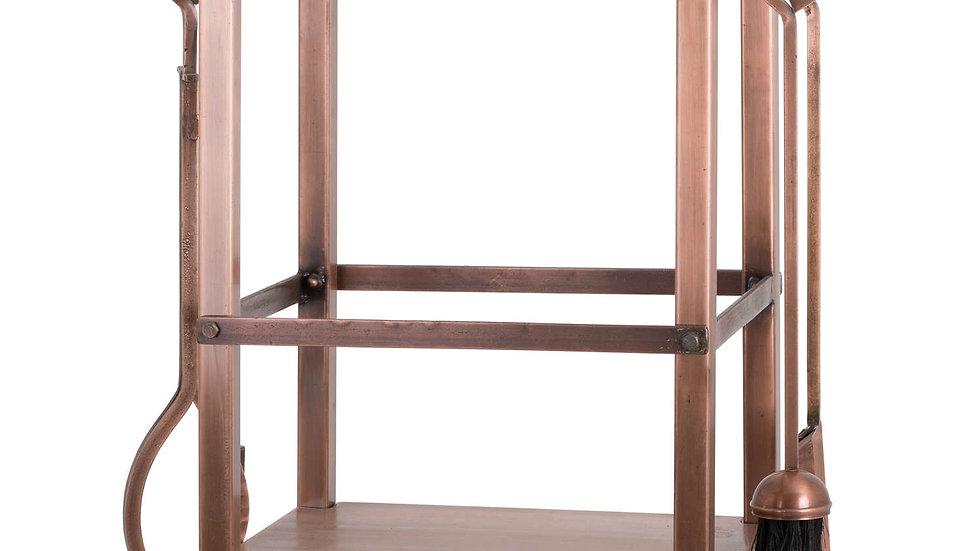Copper Finish Square Log Holder With Companion Set