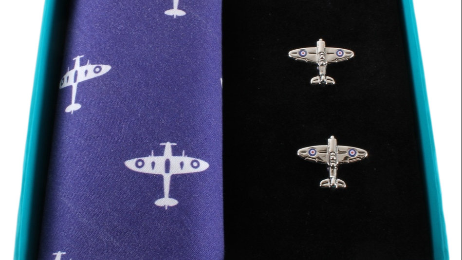 Spitfire Handkerchief & Cufflink Set (colours may vary)