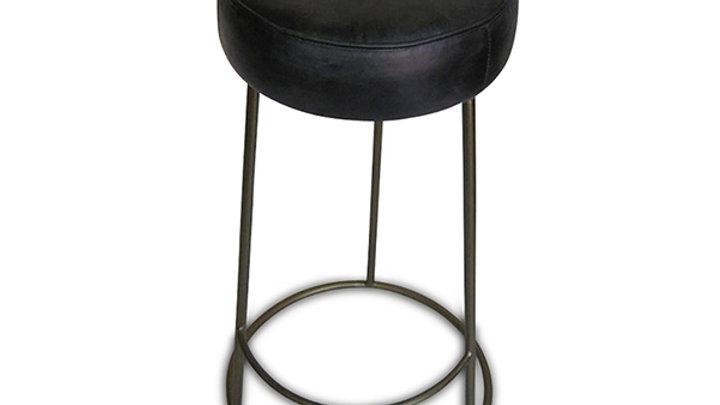 Hinx Antique Black Leather Barstool