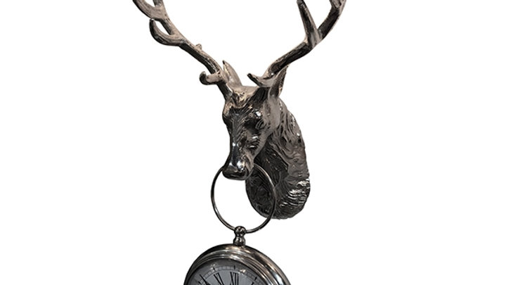 Wall Mounted Stag Head With Hanging Clock