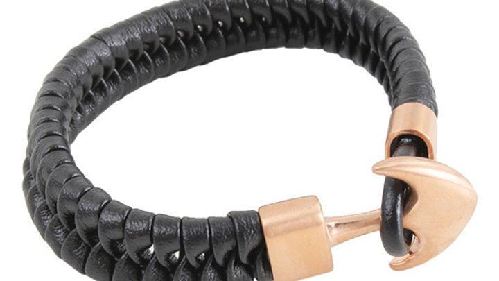 Black Leather Braided Bracelet with Rose Gold Arrow Clasp