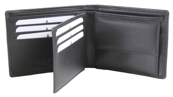 Black Leather Wallet RFID Lined with ID Partition and Coin Pouch