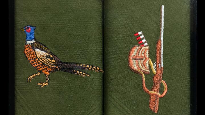 Pheasant & Gun Embroidered Green Cotton Handkerchief