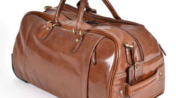 Albert Wheeled Chestnut Leather Travel Holdall