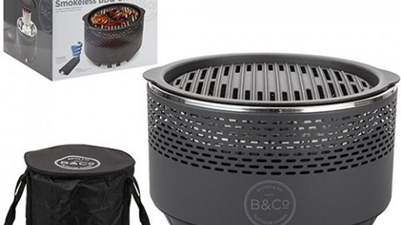 B&Co Alfresco Smokeless  Charcoal Grill - Slate Grey