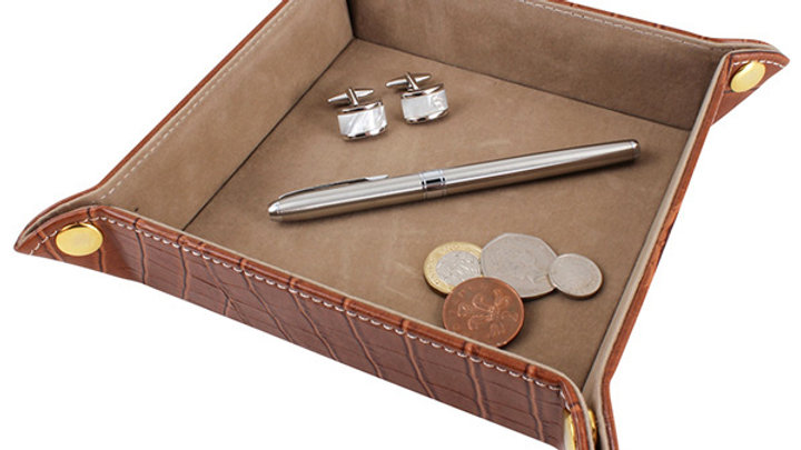 Accessory Valet Tray - Brown Crock Leatherette