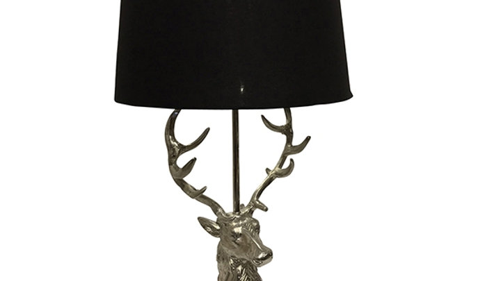 Stag Head Table Lamp With Shade