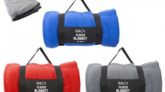 B&Co Fleece Blanket 150x130cm  With Carry Handle 3Asstd Cols