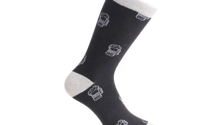 Beer Socks - Black and Grey Combed Cotton