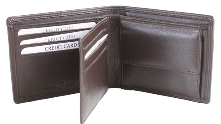 Brown Leather Wallet RFID Lined with ID Partition and Coin Pouch