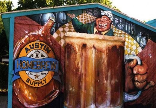 Portland muralist Nate Jensen - Austin Homebrew shed mural