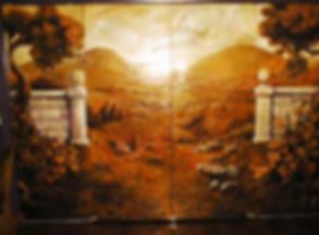 Portland muralist Nate Jensen - pocket doors landscape restaurant mural