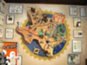 Portland muralist Nate Jensen - Texas map Fuddruckers restaurant mural