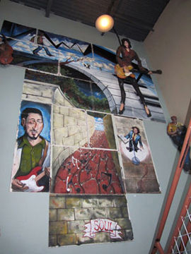Austin Music Hall mural. Multiple panels and 3d characters