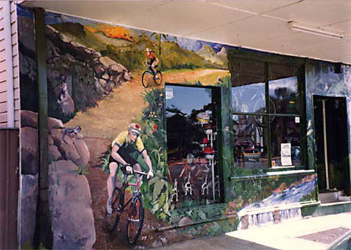 Australian rainforest mountainbike storefront mural