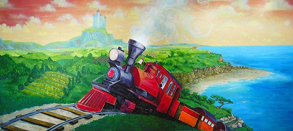 Portland muralist Nate Jensen - Train boys bedroom mural