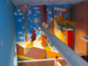 Portland muralist Nate Jensen - De Chirico inspired business interior mural