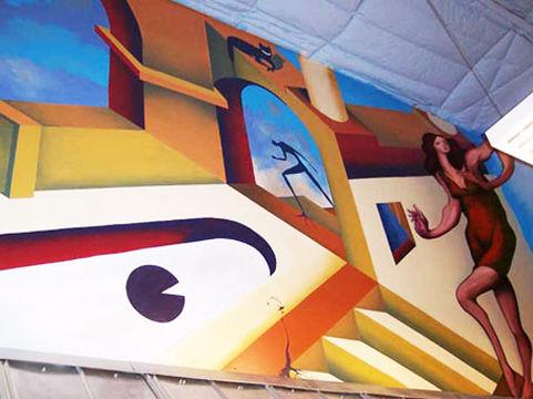 Surrealist De Chirico inspired business interior mural