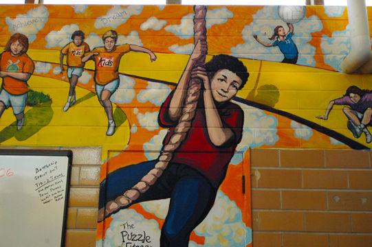 Portland muralist Nate Jensen - Gymnasium mural