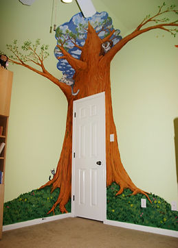 Portland muralist Nate Jensen - Tree girls bedroom mural