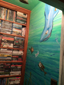 Portland muralist Nate Jensen - Where the Wild Things Are media closet mural