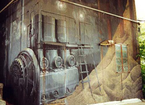 Portland muralist Nate Jensen - Feed Mill mural