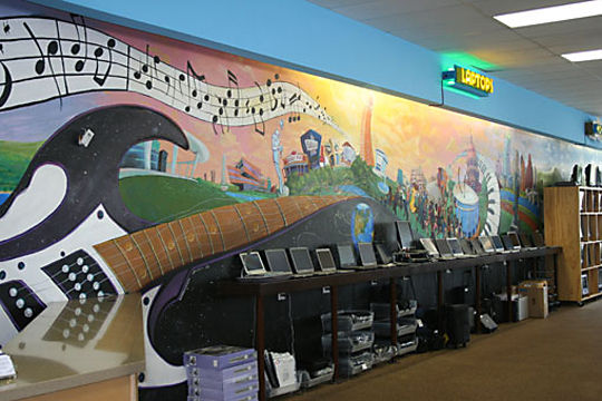 Austin music mural for Discount Electronics South