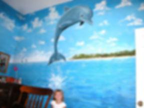 Portland muralist Nate Jensen - Dolphin girls room mural