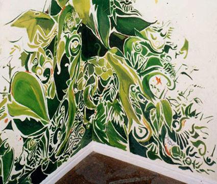 Portland muralist Nate Jensen - jungle graphic mural