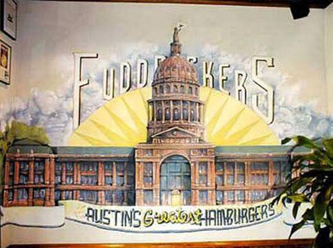 Portland muralist Nate Jensen - Texas state capitol Fuddruckers restaurant mural