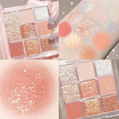 Mini 9 Colors Acrylic Eyeshadow Palette Pearly Matte