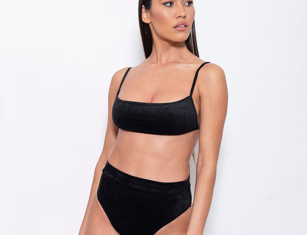 Night-Black Velvet K Rectangle High Rise Bikini