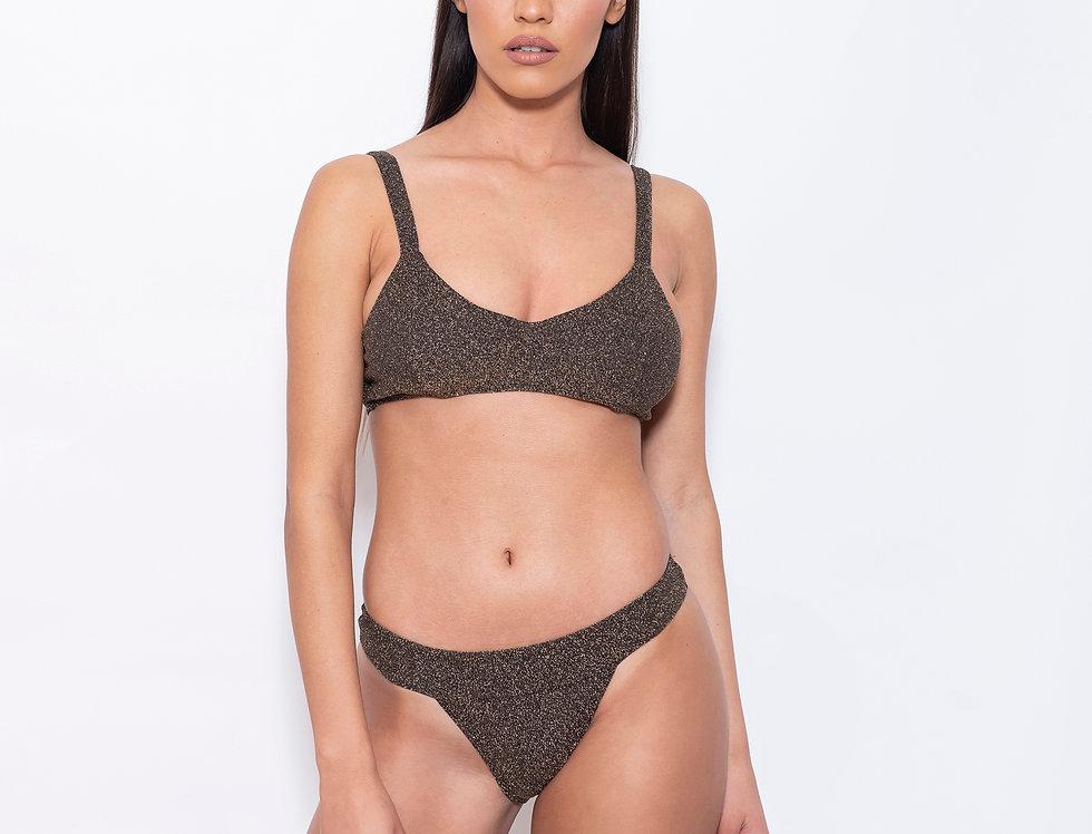 Bronze Lurex V Triangle Low Rise Bikini