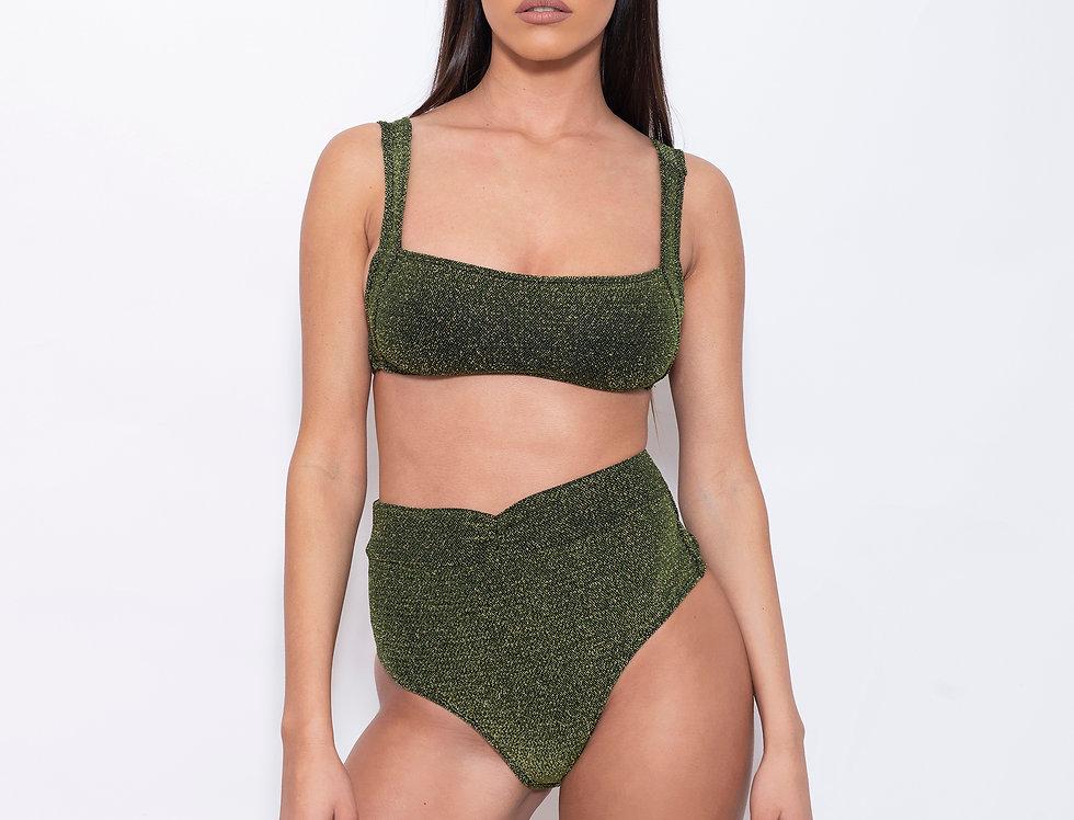 Deep Green Lurex V Rectangle High Bikini