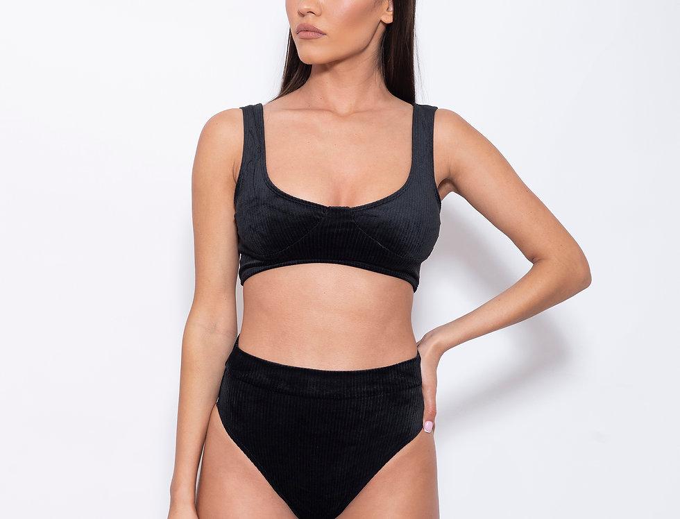 Night-Black Velvet K Wonderbra High Rise Bikini