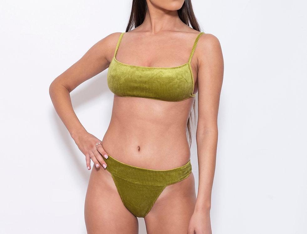 Pistachio Velvet K Rectangle Low Rise Bikini