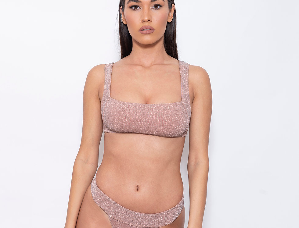 Peach Lurex V Rectangle Low Rise Bikini