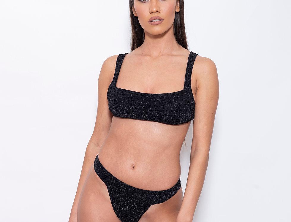 Black de Black Lurex V Rectangle Low Rise Bikini