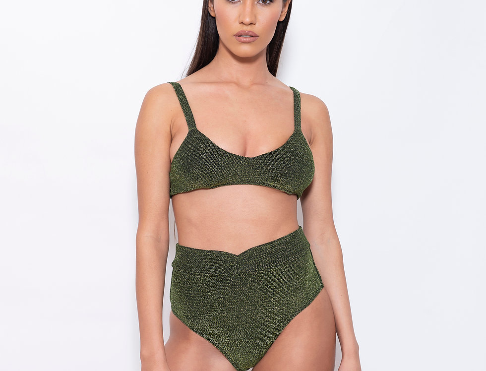 Deep Green Lurex V Triangle High Rise Bikini
