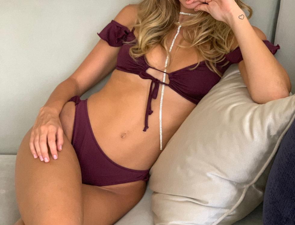 Bronze Lycra Bikini with Short sleeves