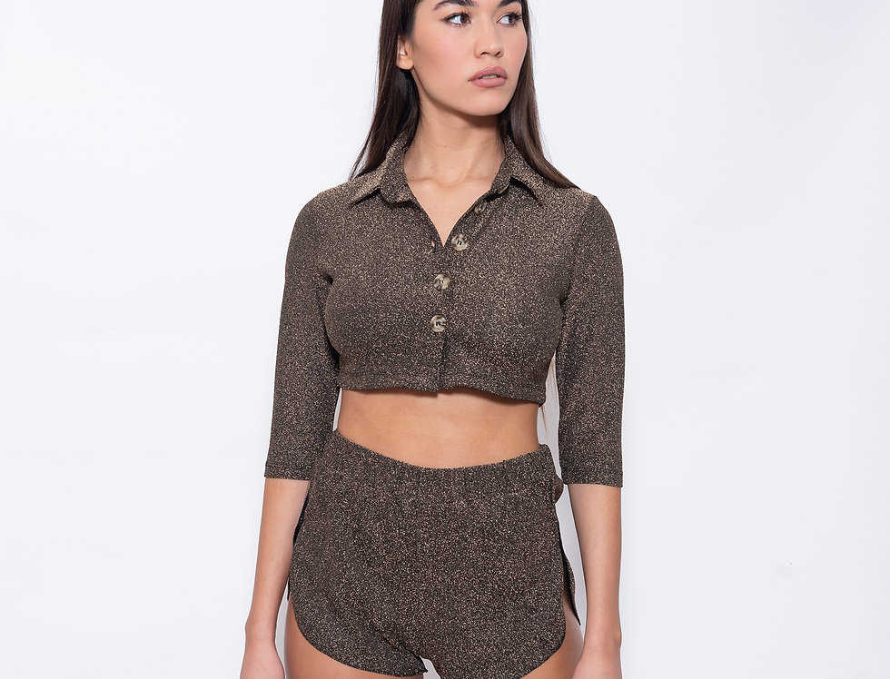 Bronze Lurex Beachwear Carditop