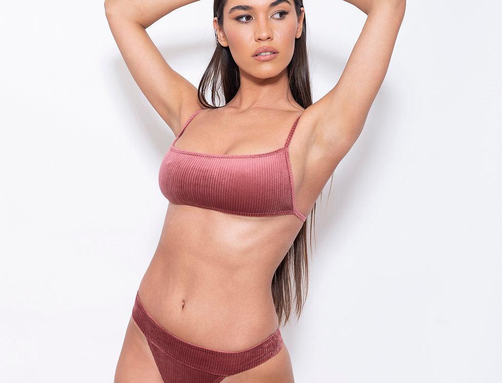 Cosmo Pink Velvet K Rectangle Low Rise Bikini