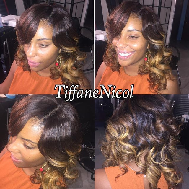 Full Sewin with no hair left out, Lace closure Sewin color & curls! by #TiffaneNicol #lacefrontalsewinatlanta #sewinatlanta #atlclosure #atl