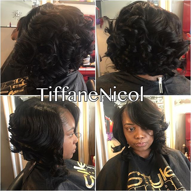 Curled bob by #TiffaneNicol #atlantahairstylist #hairstylist #atlantasewin #atlantaquickweave #atlantahair