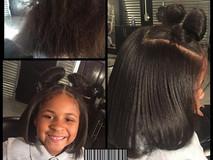 Minnie Mouse ears 💕 Silk press, trim & treatment!!!! The best age to start healthy hair care #TiffaneNicol #atlantasilkpress #atlantahealthy